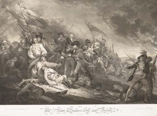 D'APRES JOHN TRUMBULL (1756-1843) THE BATTLE AT BUNKER'S HILL NEAR BOSTON, JUNE 1775 PAR J.G. MUELLER