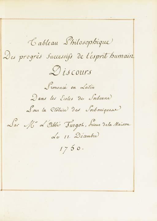 [ECONOMIE POLITIQUE] -- TURGOT, Anne Robert Jacques (1727-1781). MANUSCRIT SUR PAPIER, recueil de deux discours en latin avec leur traduction française, 66 et 98 pages, toutes dans un simple cadre à l'encre rouge. In-4 (260 x 198 mm). (Petit manque en marge blanche des 20 premiers feuillets.) Maroquin rouge de l'époque, triple filet d'encadrement, pièce d'armes de la famille Turgot aux angles, dos à nerfs orné, tranches dorées, (ancienne restauration au plat supérieur).