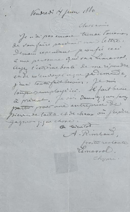 RIMBAUD, Arthur (1854-1891). L