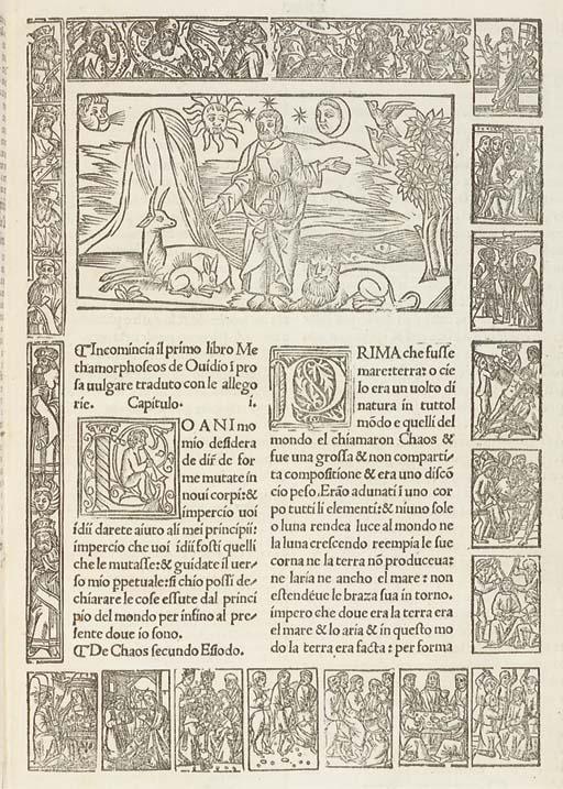 OVIDE (Ovid, 43 av.J.-C.- 17?). Metamorphoseos vulgare novamente stampato. Diligentemente correcto & historiato. Milan: Rocho & Fratello da Valle pour Nicolo Gorgonzola, 20 mars 1520.