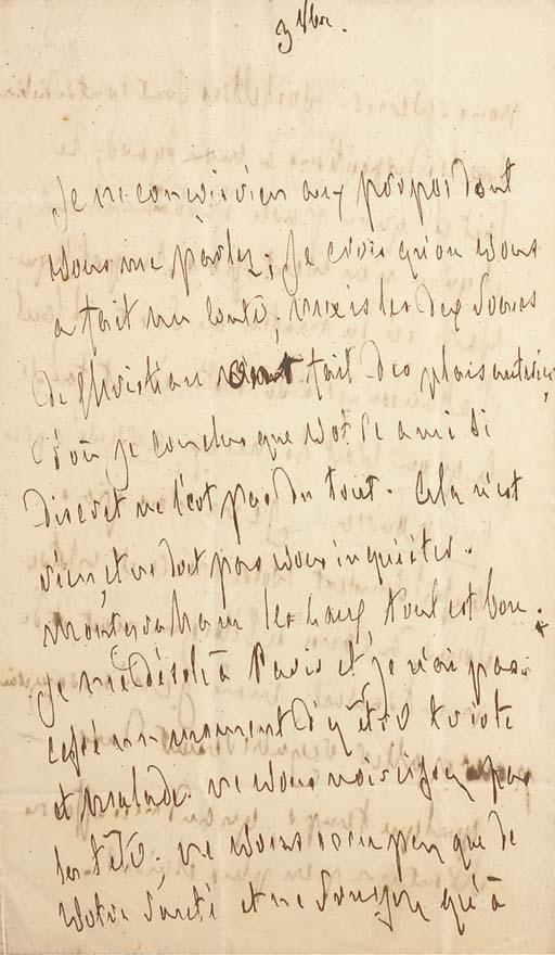 CHATEAUBRIAND, François René, vicomte de (1768-1848). Lettre autographe, datée du 3 octobre [1819, à madame de Pisieux]. 2 pages et demie in-8 (217 x 126 mm) sur double feuillet. Encre sépia sur papier. (Pliures et trace de cachet au verso de la dernière page.)