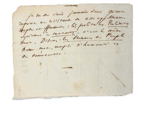 HUGO, Victor (1802-1885). Note autographe. Une page in-12 ( 175 x 132 mm). Encre brune, note rédigée au dos d'un poème imprimé intitulé Le Peuple. (Quelques petites taches et jaunissures.)