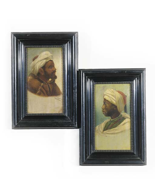TWO ORIENTALIST PORTRAITS OF N