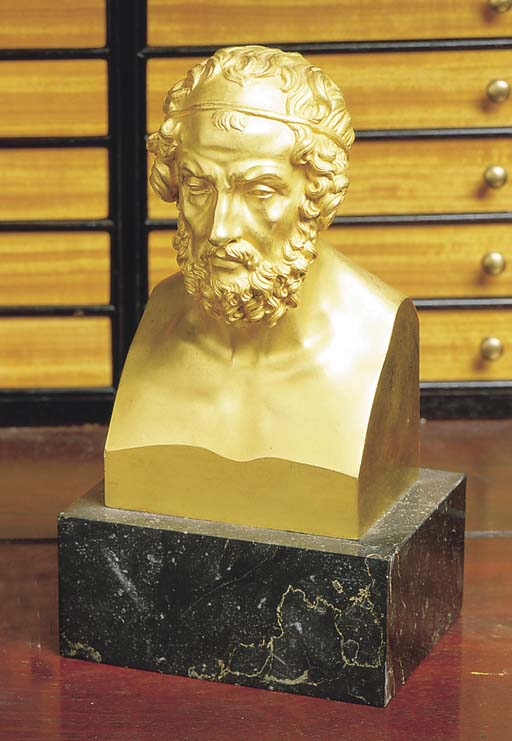A GILT BRONZE BUST OF HOMER