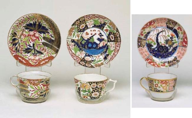 THREE DERBY FLORAL TEA CUPS AN