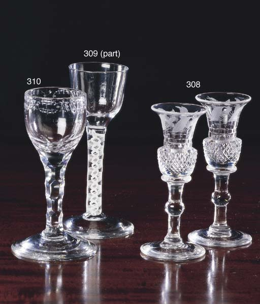 FOUR GEORGE III WINE GLASSES