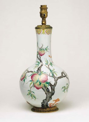 A CHINESE PORCELAIN BOTTLE VAS
