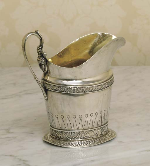 A RUSSIAN SILVER CREAM JUG