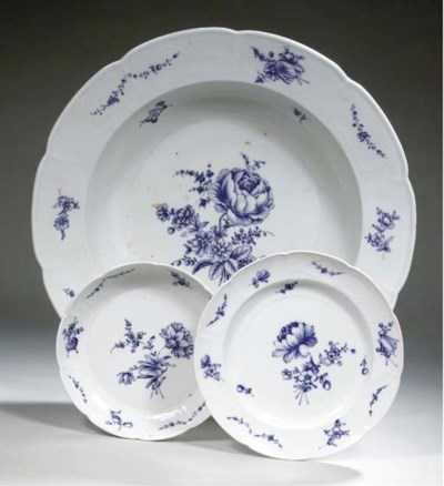 Three Fürstenberg porcelain 'B