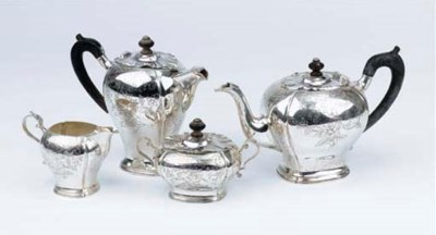 A Dutch silver four-piece coff