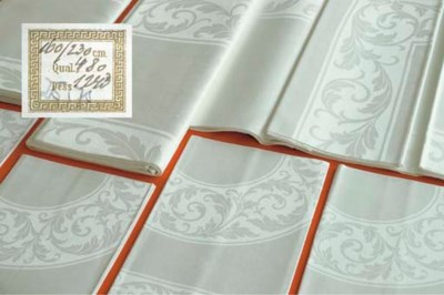 Three damask linen tablecloths