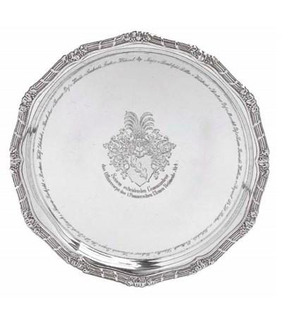 A German silver salver centred