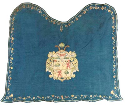 A BLUE WOOLEN EMBROIDERED HORS