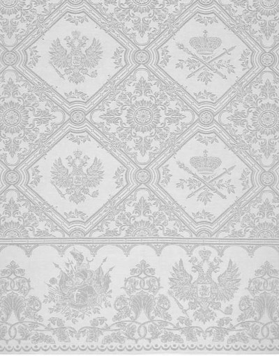 A damask linen tablecloth with