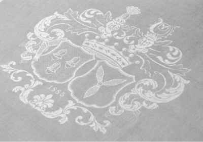 Eighteen damask linen napkins
