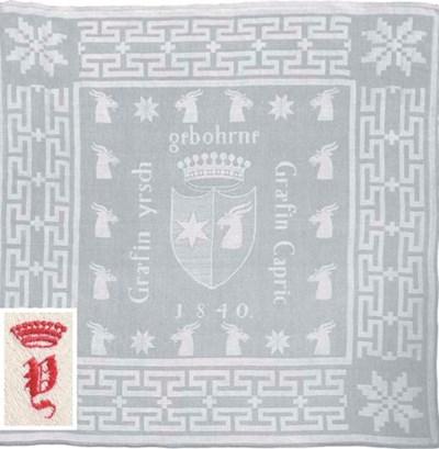 Six damask linen napkins