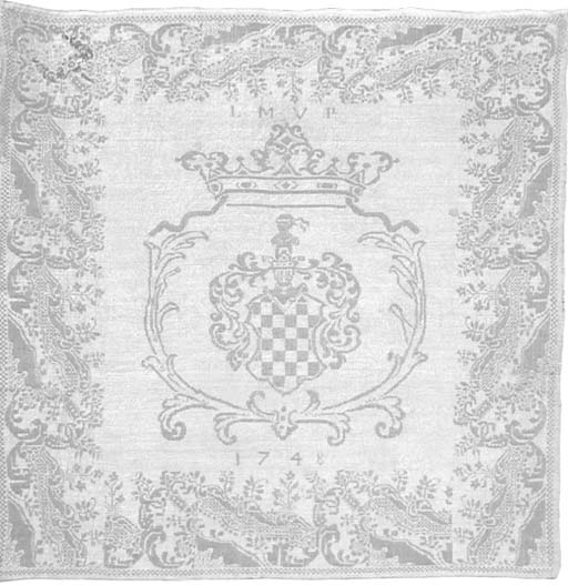A damask linen napkin