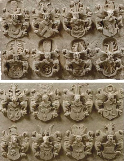 TWO RELIEF CARVED SANDSTONE PA