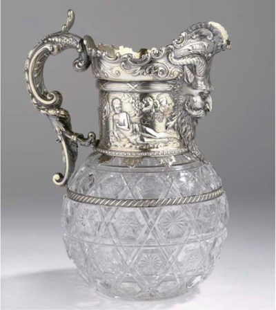 A German cut-glass and silver-