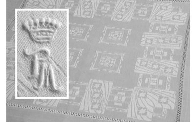 Twelve damask linen tea napkin