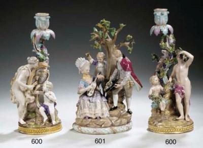 A pair of Meissen porcelain al