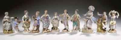 Eleven various Meissen porcela