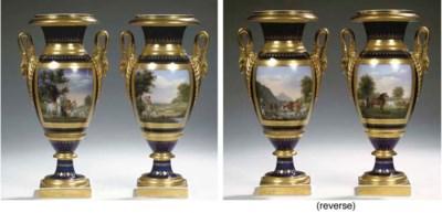 A pair of Paris porcelain heav