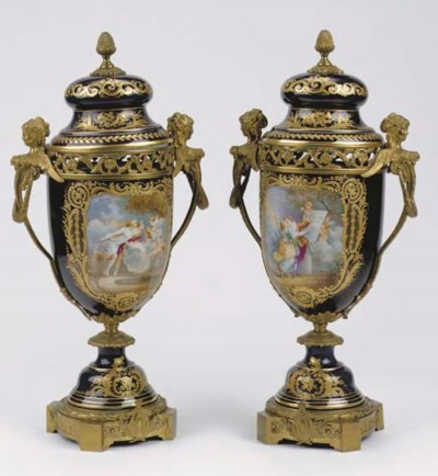 A pair of large Sèvres-style p