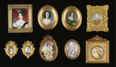 Nine various portrait miniatur
