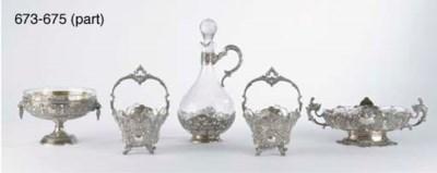 A silver bowl, sixteen small l