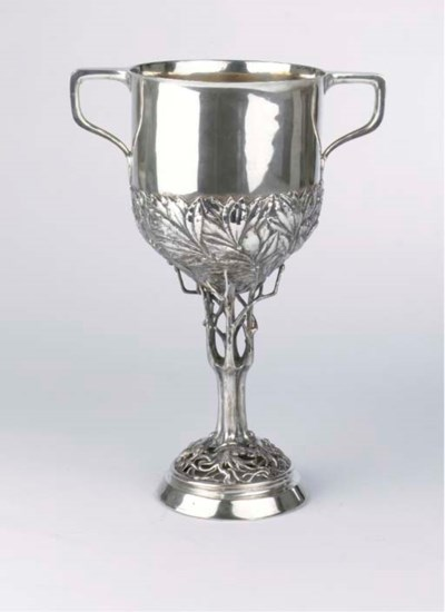 A large silver two-handled cup