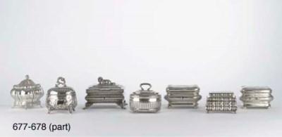 Four various silver sugar boxe