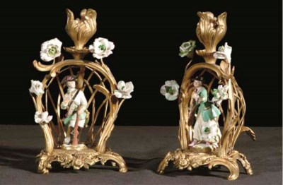 A PAIR OF PORCELAIN AND SOFT-P