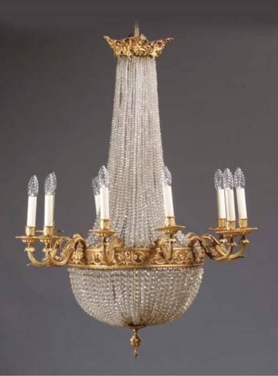 A FRENCH TEN-LIGHT GILT-BRONZE