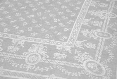 A large damask linen tableclot