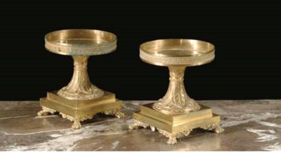 A PAIR OF ORMOLU TAZZA STANDS