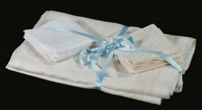 A linen tablecloth and twentyf