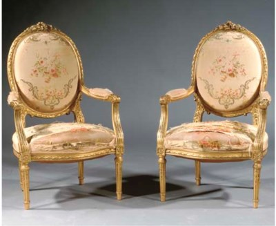 A PAIR OF FRENCH GILTWOOD FAUT