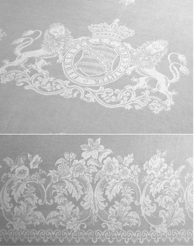 A damask linen tablecloth wove