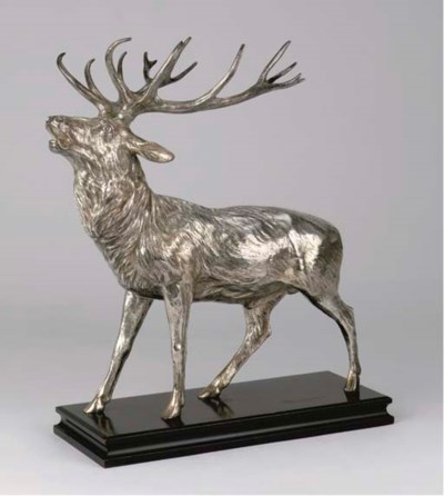 A large silver model of a stag