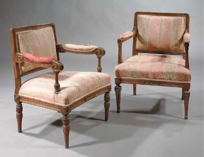 TWO GERMAN STAINED BEECH FAUTE