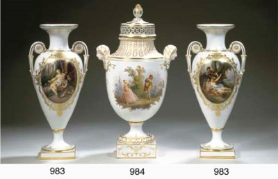 A pair of Meissen porcelain my