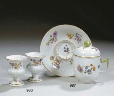A Meissen porcelain floral cov