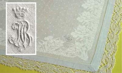 Twelve damask linen napkins