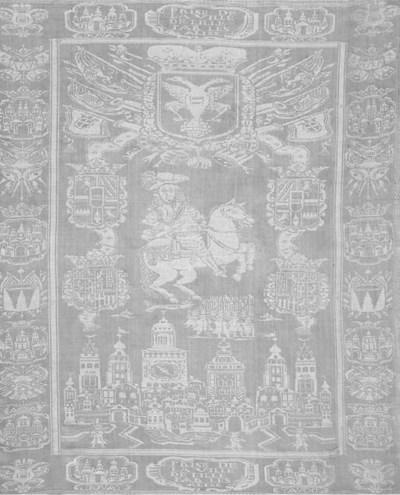 A Damask linen napkin depictin