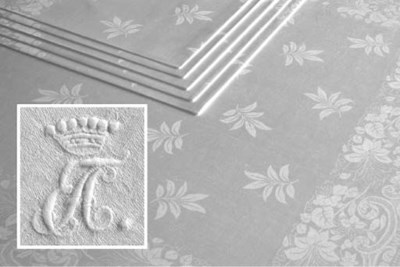 Six damask linen napkins