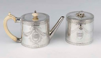 An English silver teapot and t