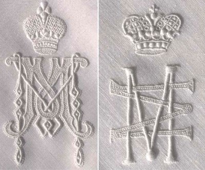 Three handkerchiefs embroidere