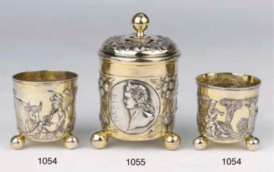 Two German silver-gilt beakers