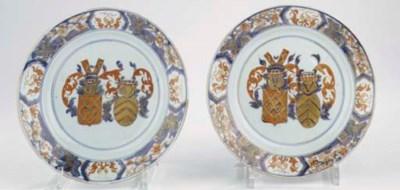A pair of Imari armorial plate